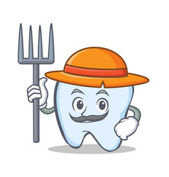 Farmer tooth character cartoon style vector