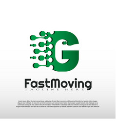 Fast moving logo with initial g letter concept vector
