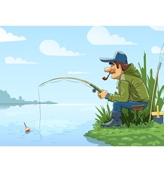 Fisherman with rod fishing on vector