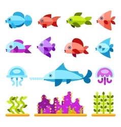 Flat marine animals icons vector image
