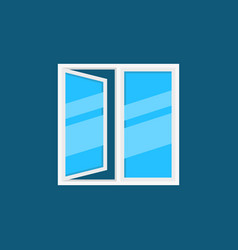 flat white window with blue glass icon or vector image