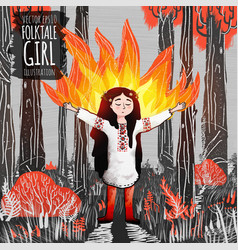 Folk tale girl practicing fire magic in red forest vector