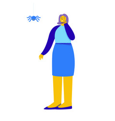 Frightened woman girl afraid a spider hanging vector