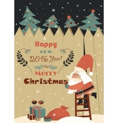 Funny Santa Claus wishing you Merry Christmas vector