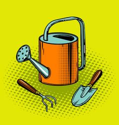 Gardening tools pop art style vector