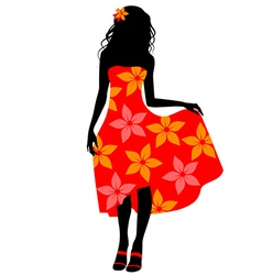 girl in red dress vector image