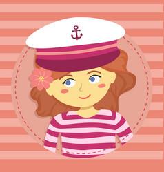 girl with captain hat cartoon avatar vector image