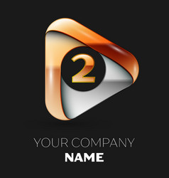 Golden number two logo in golden-silver triangle vector