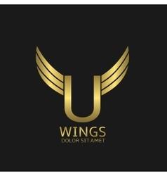 Golden U letter logo vector image