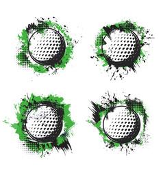 golf balls on green tee hit splash halftone badge vector image