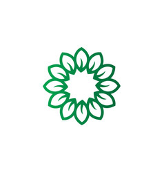 Green leaves round logo image vector