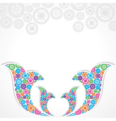Group of gears make a floral design vector