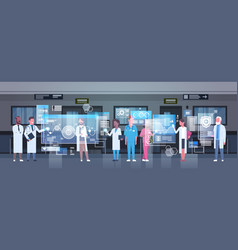 Group of medical doctors using digital monitor vector