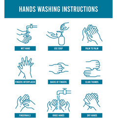 Hand washing instruction step step tutorial vector