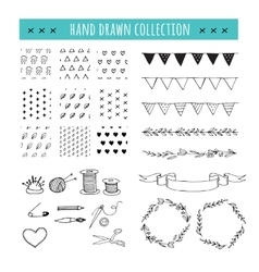 Handmade crafts workshop icons patterns vector image