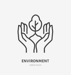hands holding soil with tree flat line icon vector image