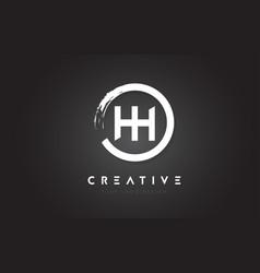 Hh circular letter logo with circle brush design vector