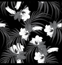 hibiscus flowers monochrome seamless pattern vector image