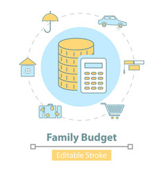 icon family budget management vector image