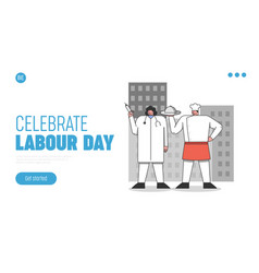 International labour day website landing page vector