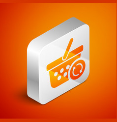 Isometric refresh shopping basket icon isolated on vector