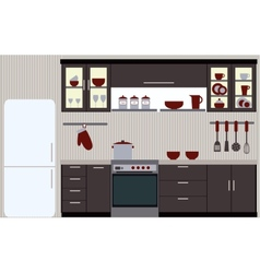 Kitchen with kitchen furniture vector