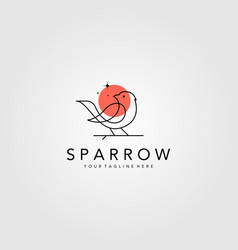 line art sparrow bird logo design minimalist bird vector image