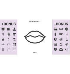 Lips linel icon - graphic elements for your design vector