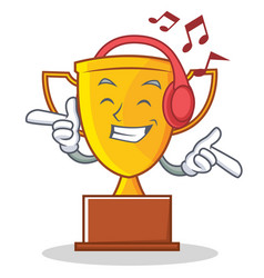Listening music trophy character cartoon style vector