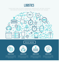 logistics concept in half circle vector image