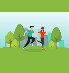 man and woman running in public park vector image
