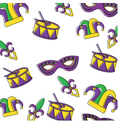 Mardi gras mask drum hat jester pattern design vector