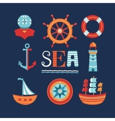 Marine set of icons vector