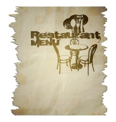 menu template torn page with the text vector image