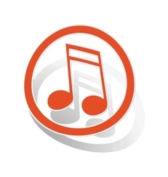 Music sign sticker 2 orange vector image