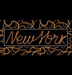 new york one line typography slogan for t-shirt vector image