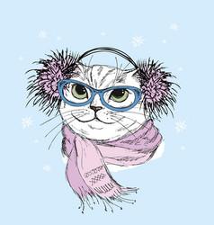 Nice fashion cat designhand drawn vector