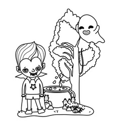 Outline happy boy with vampire costume and ghost vector