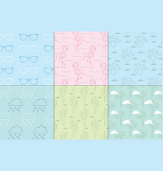 pastel summer patterns vector image