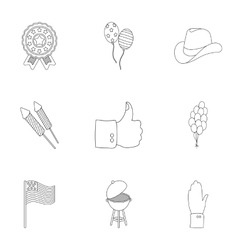 Patriot Day set icons in outline style Big vector image