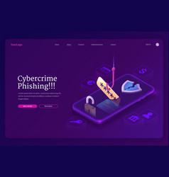 Phishing cybercrime isometric landing page banner vector