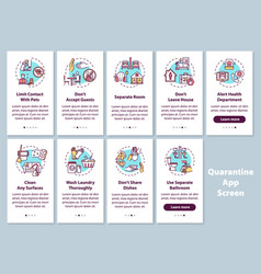 quarantine rules onboarding mobile app page vector image