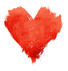 red watercolor painted heart shape on white vector image