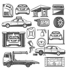 repair and service car maintenance icons vector image
