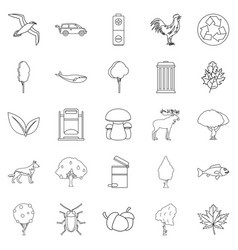 Reserve icons set outline style vector