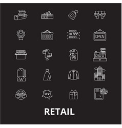 retail editable line icons set on black vector image