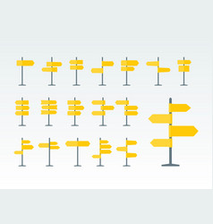 Road signs and pointers flat icons set vector