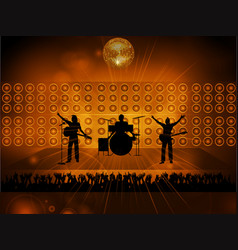 Rock pop band on stage and crowd vector