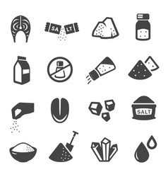 Salt manufacturing and consumption glyph icons set vector