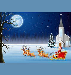 santa rides reindeer sleigh in front of church vector image